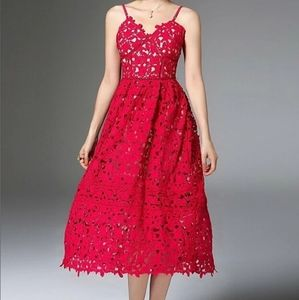 Red Self Portrait Style Azaelea Dress Midi Lace
